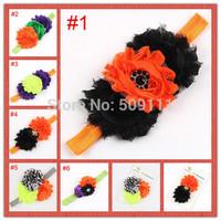 Halloween Baby Headband Flower Head Band Holiday Chiffon Toddler Infant Photo Prop 6 colors 10pcs/lot HB288