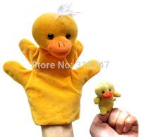 Free Shipping 22cm Big Duck Hand Puppet + Small Duck Finger Puppet, Plush Puppet Set  2pcs/lot  090001113