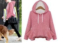 2014 Winter Women Fashion Cute School College sweatshirt Casual Hoodies Pink Blue Plus size XL Pullover sudaderas