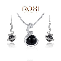 ROXI necklace+earring, Wholesale White Gold Plated Austrian crystal imitation pearl set fashion jewelry 20141018-35