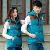 Couples dress cotton vest 2014 winter fashion leisure bright mosaic hooded cotton vest