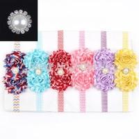Baby girls pearl hair accessories Baby waves stripe flower headband Infant chevron headbands 10pcs/lot HB291