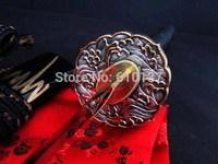 Battle ready wave tsuba folded steel clay tempered blade jp samurai katana sharpened sword