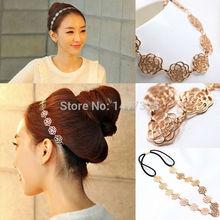 Womens Fashion Metal Chain Jewelry Hollow Rose Flower Elastic Hair Band Headband Jewelry(China (Mainland))
