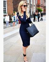 women dress 2014 new fall fashion casual lady dress lady dress long sleeve V-neck women dress LYQ6152