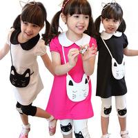 Children's Sets Kids Girls Set Capri & Top Clothing Set Pure Cotton Meninas Vestir Children's Clothing Conjunto De Roupa WB-25