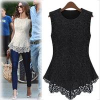 free shipping 2014 summer chiffon shirt fashion elegant women's plus size lace basic shirt fashion slim t-shirt LQ2860LMX