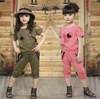Children's clothing set 2014 summer minnie girls casual two-piece fashion sets kids T-shirt and pants suits free shipping