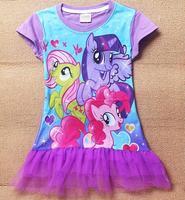 2014 New Girls Dress 5pcs/lot Kids Summer Casual Tee shirt Dress cartoon my little pony clothes 100% cotton top Dresses Hot sale