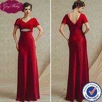 Goingwedding Real Image V-Neck Chiffon Top Satin Skirt Short Ruffles Sleeves Bridal Empire Waist Burgundy Evening Dress GS4903