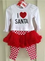 "Fashion Kids Dress Christmas Girls Dress Vestidos De Menina Kids Clothes Meninas Vestir ""I love Santa"" Children Clothing WB-20"