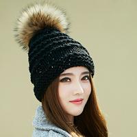 Winter Genuine Women Black White Pink Red Hat Natural Raccoon Hair Real Fur Knitting Wool Caps For Girl Skullies Warm Beanies