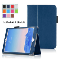 Hight Quality Stand  PU leather case cover for iPad Air 2 tablet 9.7 inch tablet  free shipping with sleep fuction 11 colors