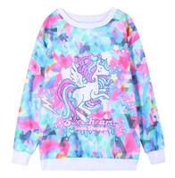 DX-08 Horse sweatshirt  Printed Women clothing Sport Harajuku 3d Pullovers Loose 3d Long sleeve Fleece Coat Pink sportswear