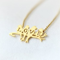 30 Piece-N129 Fashion Brass Simple Love birds on the branch necklace in gold and silver,letter necklace  -Free shipping