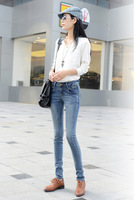 Free-shipping Women's Middle waist jeans Thin Denim trousers DD8819