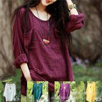 2014 New Vintage Women Crewneck Cotton Linen Long-sleeved T-shirt Casual Loose Shirt Blouse Top Blouses Shirt