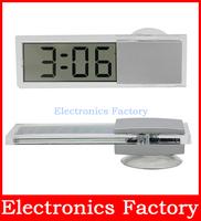 Mini Portable LCD Display Digital Electronic Auto Car Transparent Clock Time Durable Sucker