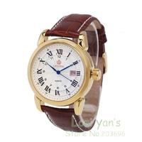 Classic Orkina Watch Roman Number Quartz Watches Leather Men Watch Wristwatch Free Ship