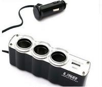 New Socket Adapter Car Cigarette Lighter 3 Ways Car Charger Socket Splitter Charger With USB Port Free Ship