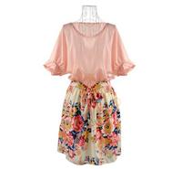 New 2014 Summer Women Fashion Patchwork  Chiffon Short Sleeve Flower Casual Dress  floral   Mini Dress With belt M L XL