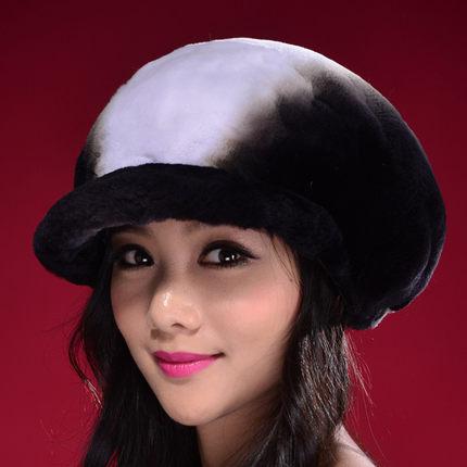 2015 New women winter hat whole skin otter rabbit hair fur hat cap leopard grain thermal winter women hat 1013(China (Mainland))