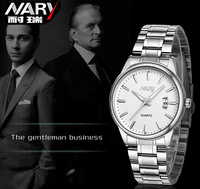 2014 New Nary Brand Luxury Stainless Steel Quartz Calendar Watch Men High Quality 3 Atm Waterproof Wrist Watch