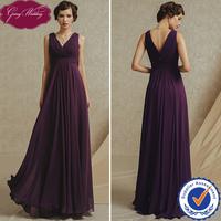 Goingwedding Real Sample A-Line Simple Chiffon V-neck Bridesmaid Dress In Royal Purple GS4902