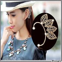 2014 New Fashion Gold Silver Hollow Clover Ear cuff flower Girls clips earrings for women Wedding earrings clips jewelry