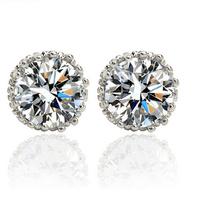 Multi Prongs 8mm 2ct Top Quality Swiss CZ Diamond Stud Earrings