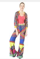 Bohemia wide leg pants Aztec pants palazoo pants Tropical style geometric patterns