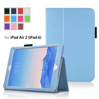3pcs/lot Premium leather case For 2014 Edition iPad Air 2 (iPad 6th Gen) Tablet With Smart Cover( Auto Wake/Sleep) 11 colors
