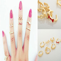 New Fashion 7Pcs/lot Wings/V /Bow/Eyes/Crown/Love Joint Mixed Styles Gold Ring Set Punk Knuckle Open Rings For Women Girls