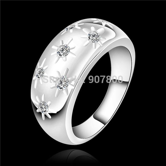 Perfect design 925 sterling silver fashion jewelry swiss CZ diamond ring Top quality beautiful wedding gift(China (Mainland))