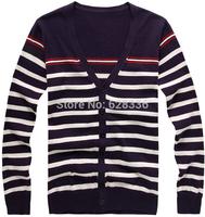 2014 Male Spring Autumn Sweater Slim Cardigan Men's Knitwear Cardigan Casual Stripe Sweater Coat