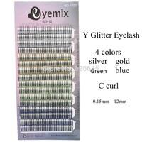 Eyemix Brand New  Top Quality Y Glitter Eyelash Extension 4 Colors Y False Individual Eyelash Extensions Freeshipping