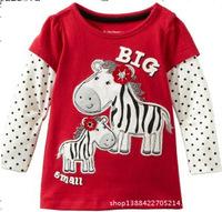 2014 new brand children's clothing girls shirt cartoon pony flower sweater  free shipping