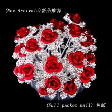 Free Shipping Wholesale 20pcs Red Rose Flower Crystal Rhinestone Women Wedding Bridal Party Prom Hair Clips