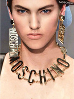 Punk runway accessories MOSC gold metal letter chain bib choker necklace exaggerated HINO rock pendant necklace earrings set