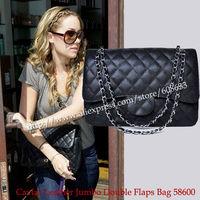Women's Fashion 58600 Bag Black Double Flaps Jumbo Bag Caviar Leather Black Lining Inside Genuine Leather Bag 30CM Free Shipping