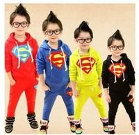 2014 Autumn New Baby Boys and Girls Set  Superman Suit Kids Clothing Leisure Sport Suits Roupas Meninos