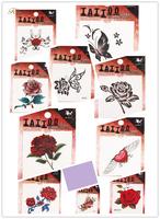 12pcs/lot Rose and  Heart Sexy 10 Different Patterns Waterproof Tattoo Sticker Body Art Temporary Tattoo Sticker