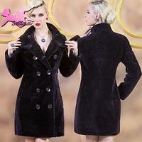 women coats High Quality Thick Soft Sheepskin Double Breasted Long fur coat Plus Size S-3XL Warm winter coat women JA03418