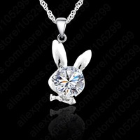 10PCS Fashion Cute Rabbit Crystal Necklace Genuine 925 Sterling Silver SWA Animal White Gold Plated Woman Girls Pendant
