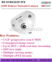 Hikvision DS-2CD6362F-IVS 6MP  Fisheye Network mini Camera 360 degrees view angle 15m IR ePTZ Audio/Alarm IP66 IK10 Vandal-proof