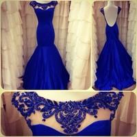 Elegant Scoop Neckline Blue Mermaid Prom Dresses vestidos de fiesta Open Back Evening Gowns vestidos 2015