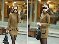 Free Shipping New 2014 Hot Sale Autumn Winter Women Knitted Cardigan Thick Hooded Sweater Coat LY1693