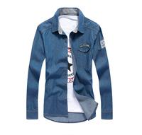 New Arrival Big Discount Cotton Men Jeans Shirt Men Casual Shirt Slim Fit Long-Sleeves Denim Clothing M-3XL 3 colors