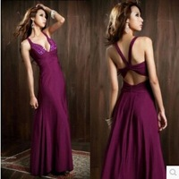 2014 New Arrival Sexy Elegant Empire Backless Long Cotton Evening Dress Women Summer Formal Destido Elie SaabGowns Free Shipping