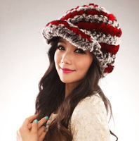 2014 New Style Genuine Knitted Rex Rabbit Fur Hat Natural Rabbit Stripe Fur Caps Fashion Women Headgear Various Colors